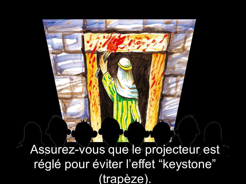 Assurez-vous que le projecteur est réglé pour éviter leffet keystone (trapèze).