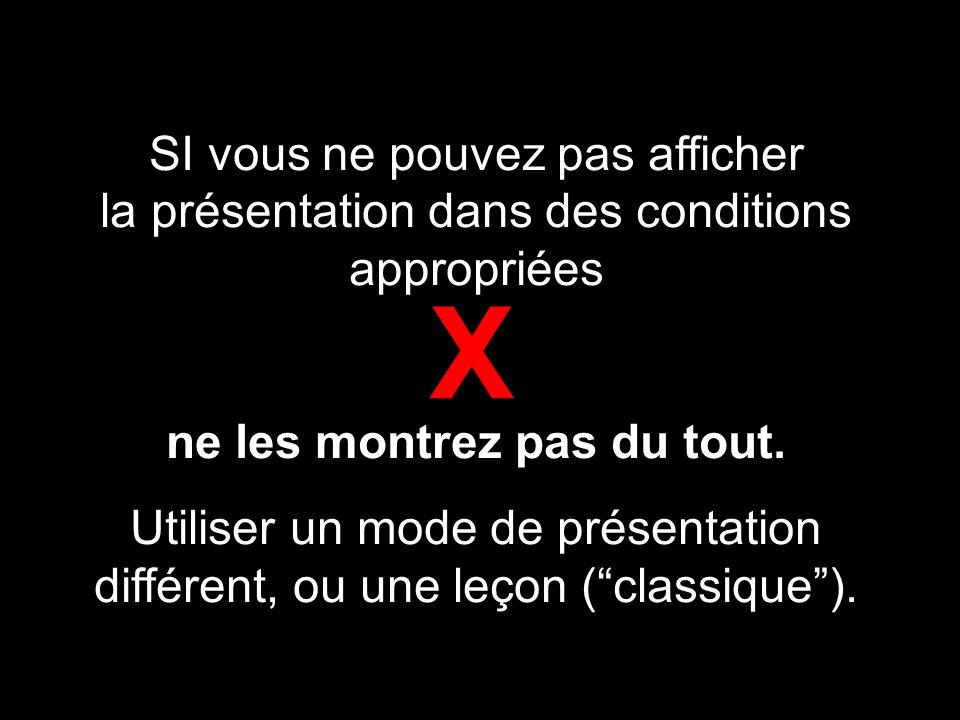 SI vous ne pouvez pas afficher la présentation dans des conditions appropriées ne les montrez pas du tout.