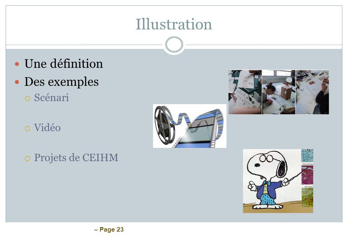 – Page 23 Illustration Une définition Des exemples Scénari Vidéo Projets de CEIHM