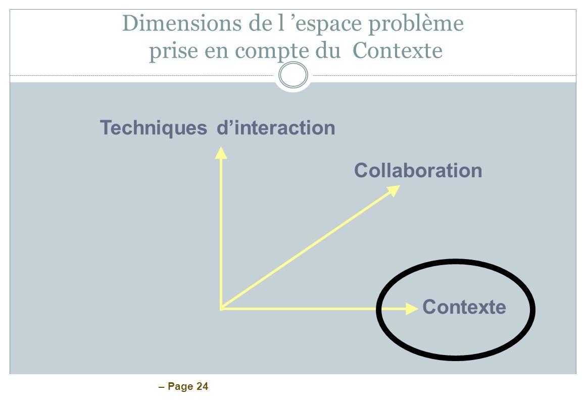 – Page 24 Dimensions de l espace problème prise en compte du Contexte Techniques dinteraction Collaboration Contexte