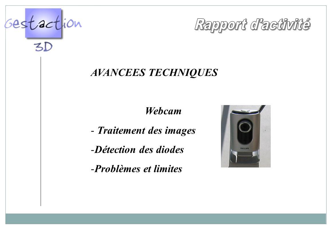 AVANCEES TECHNIQUES Webcam - Traitement des images -Détection des diodes -Problèmes et limites