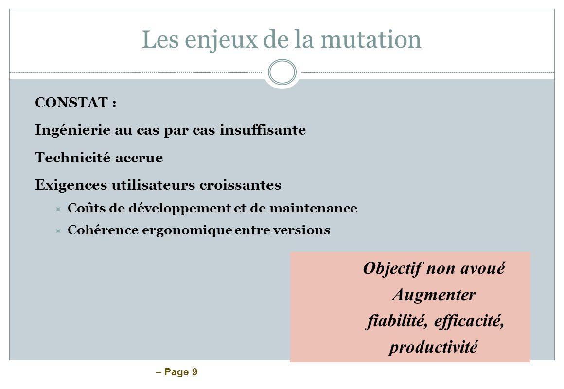 – Page 9 Les enjeux de la mutation CONSTAT : Ingénierie au cas par cas insuffisante Technicité accrue Exigences utilisateurs croissantes Coûts de déve