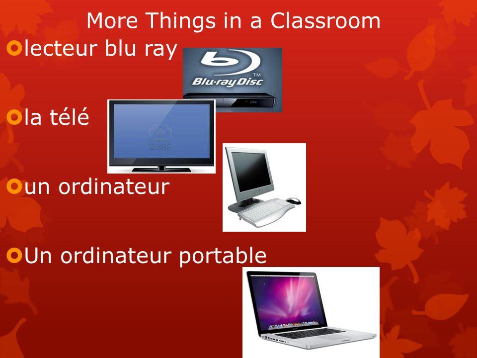 More Things in a Classroom lecteur blu ray la télé un ordinateur Un ordinateur portable