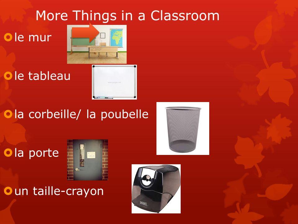 More Things in a Classroom le mur le tableau la corbeille/ la poubelle la porte un taille-crayon