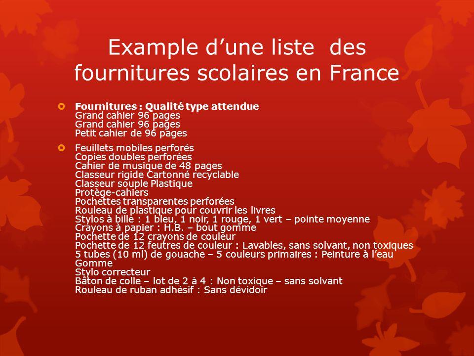 Example dune liste des fournitures scolaires en France Fournitures : Qualité type attendue Grand cahier 96 pages Grand cahier 96 pages Petit cahier de