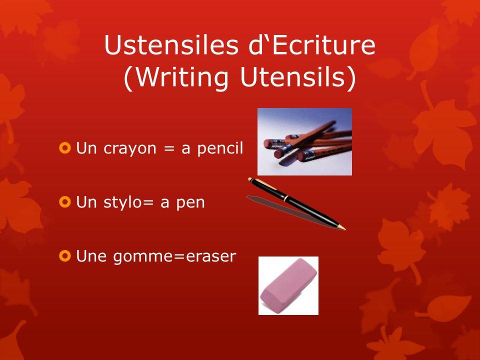 Ustensiles dEcriture (Writing Utensils) Un crayon = a pencil Un stylo= a pen Une gomme=eraser