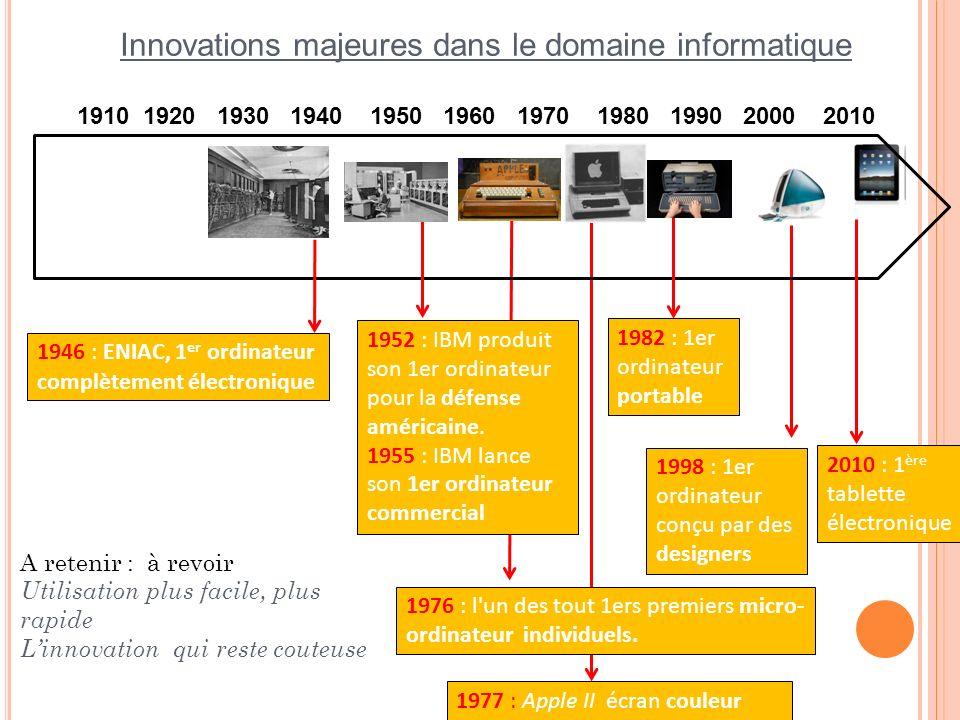 1910 1920 1930 1940 1950 1960 1970 1980 1990 2000 2010 Innovations majeures dans le domaine informatique 1946 : ENIAC, 1 er ordinateur complètement él