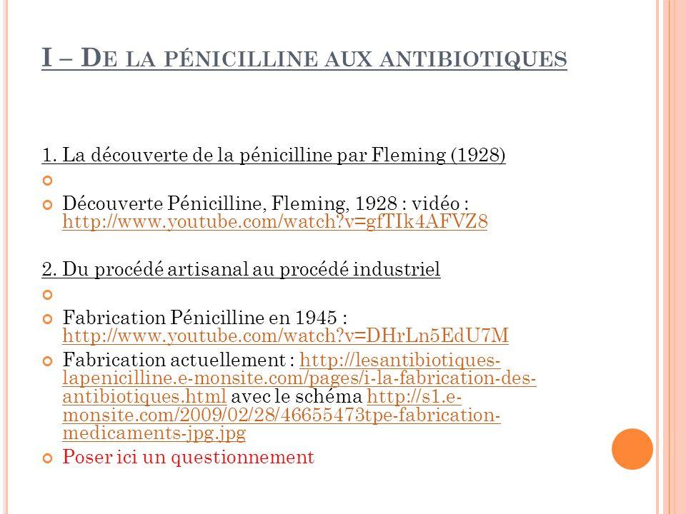 I – D E LA PÉNICILLINE AUX ANTIBIOTIQUES 1. La découverte de la pénicilline par Fleming (1928) Découverte Pénicilline, Fleming, 1928 : vidéo : http://