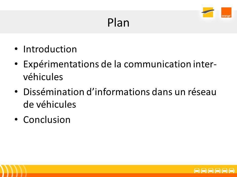 Plan Introduction Expérimentations de la communication inter- véhicules Dissémination dinformations dans un réseau de véhicules Conclusion