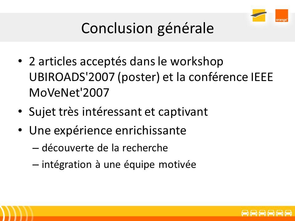 Conclusion générale 2 articles acceptés dans le workshop UBIROADS'2007 (poster) et la conférence IEEE MoVeNet'2007 Sujet très intéressant et captivant