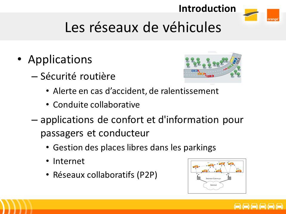 Les réseaux de véhicules Applications – Sécurité routière Alerte en cas daccident, de ralentissement Conduite collaborative – applications de confort
