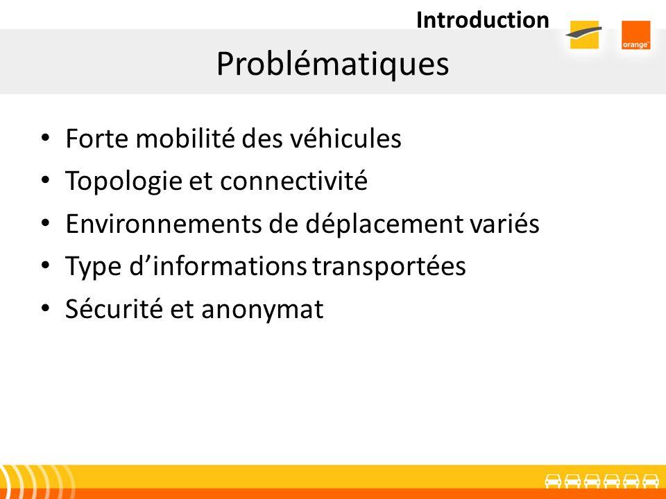 Problématiques Forte mobilité des véhicules Topologie et connectivité Environnements de déplacement variés Type dinformations transportées Sécurité et