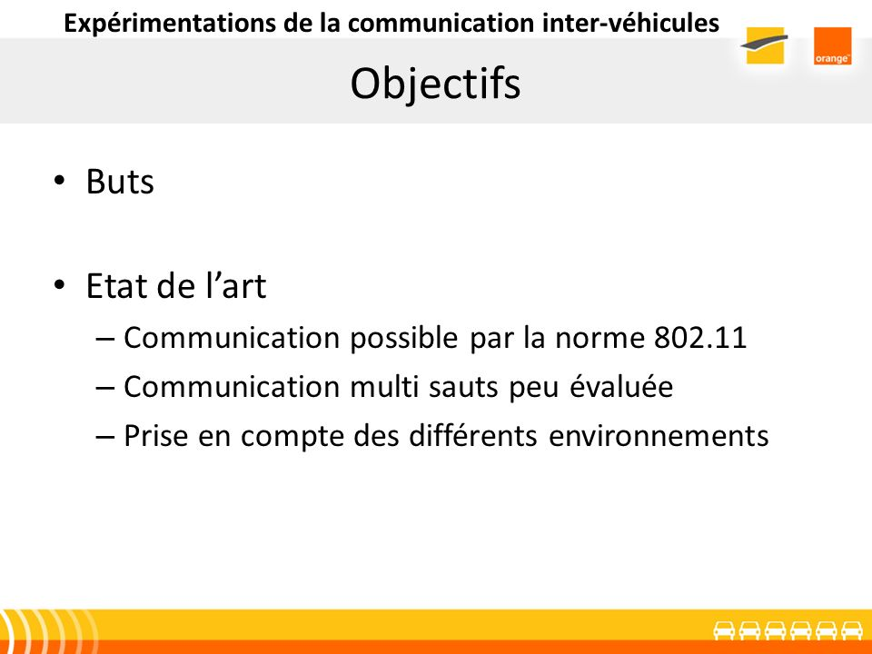 Objectifs Buts Etat de lart – Communication possible par la norme 802.11 – Communication multi sauts peu évaluée – Prise en compte des différents envi