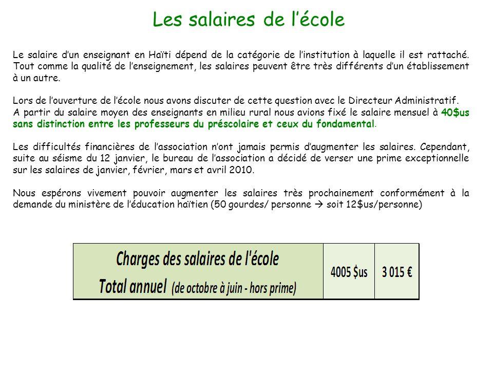 Le salaire dun enseignant en Haïti dépend de la catégorie de linstitution à laquelle il est rattaché. Tout comme la qualité de lenseignement, les sala