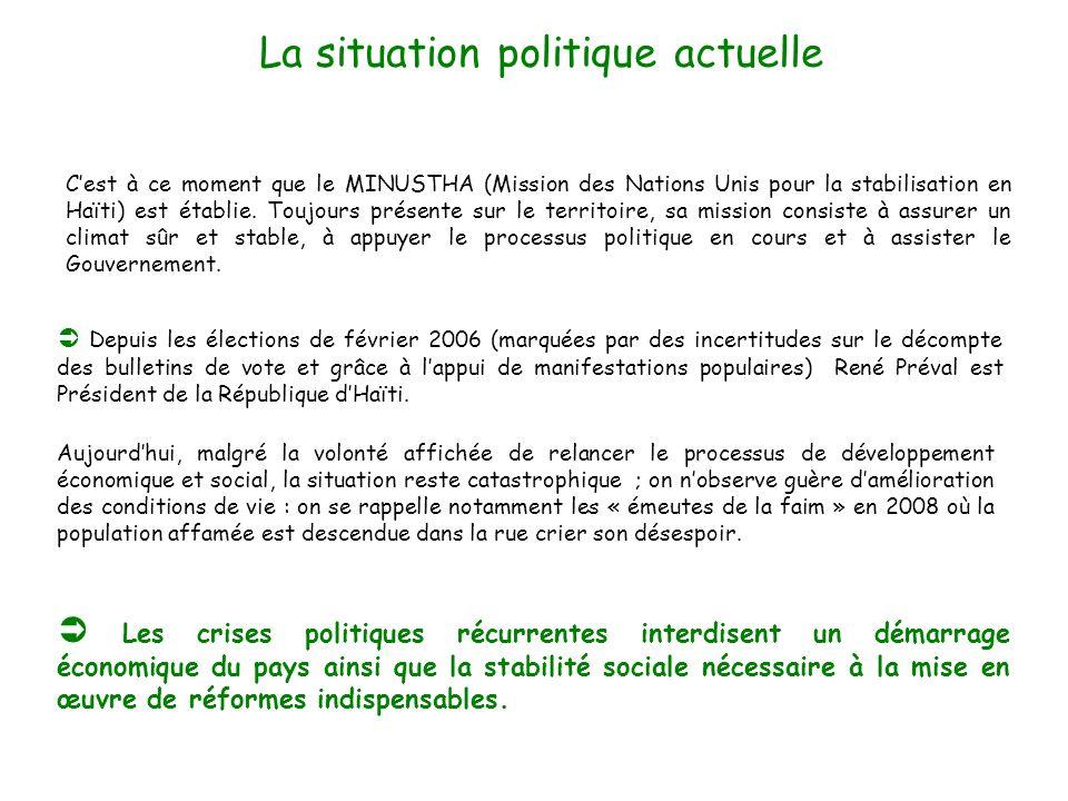 La situation politique actuelle Cest à ce moment que le MINUSTHA (Mission des Nations Unis pour la stabilisation en Haïti) est établie. Toujours prése