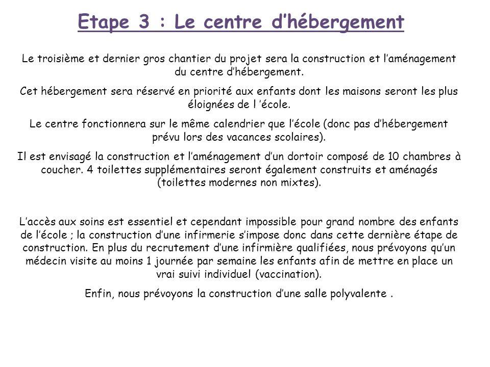 Etape 3 : Le centre dhébergement Le troisième et dernier gros chantier du projet sera la construction et laménagement du centre dhébergement. Cet hébe