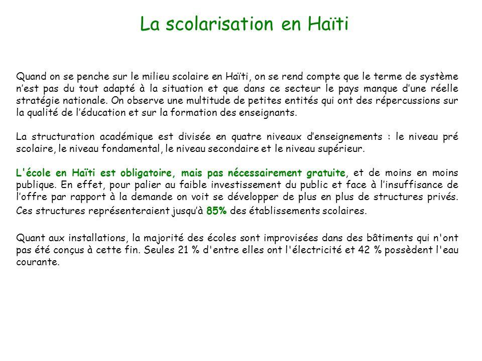 Quand on se penche sur le milieu scolaire en Haïti, on se rend compte que le terme de système nest pas du tout adapté à la situation et que dans ce se