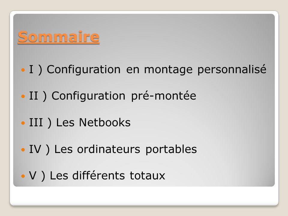 Sommaire I ) Configuration en montage personnalisé II ) Configuration pré-montée III ) Les Netbooks IV ) Les ordinateurs portables V ) Les différents totaux