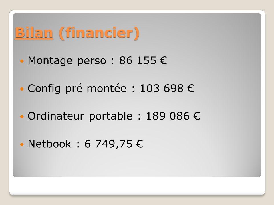 Bilan (financier) Montage perso : 86 155 Config pré montée : 103 698 Ordinateur portable : 189 086 Netbook : 6 749,75