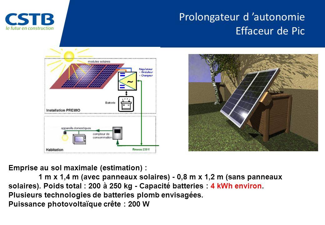 Prolongateur d autonomie Effaceur de Pic Emprise au sol maximale (estimation) : 1 m x 1,4 m (avec panneaux solaires) - 0,8 m x 1,2 m (sans panneaux solaires).