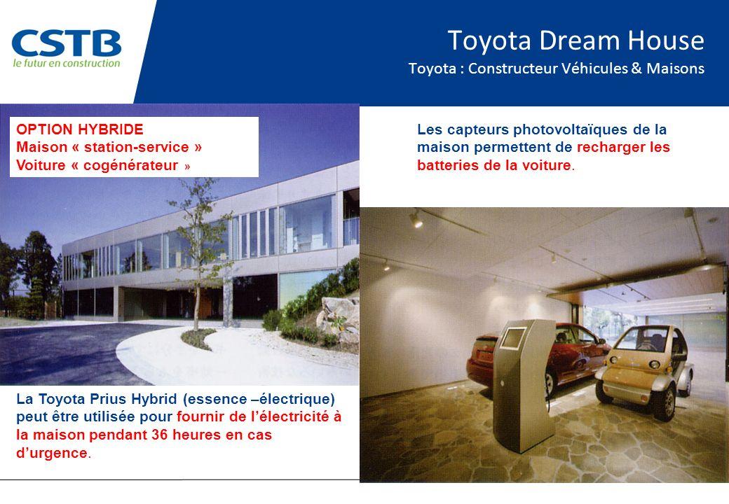 Toyota Dream House Toyota : Constructeur Véhicules & Maisons La Toyota Prius Hybrid (essence –électrique) peut être utilisée pour fournir de lélectricité à la maison pendant 36 heures en cas durgence.