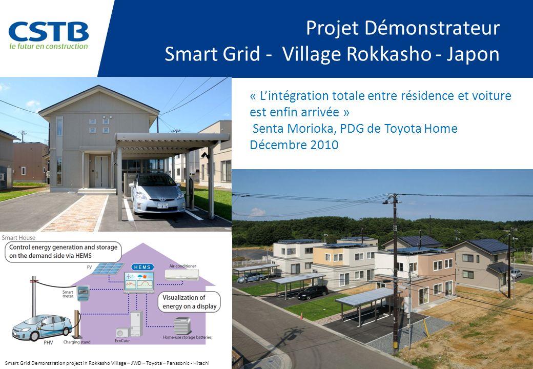 Projet Démonstrateur Smart Grid - Village Rokkasho - Japon Smart Grid Demonstration project in Rokkasho Village – JWD – Toyota – Panasonic - Hitachi « Lintégration totale entre résidence et voiture est enfin arrivée » Senta Morioka, PDG de Toyota Home Décembre 2010