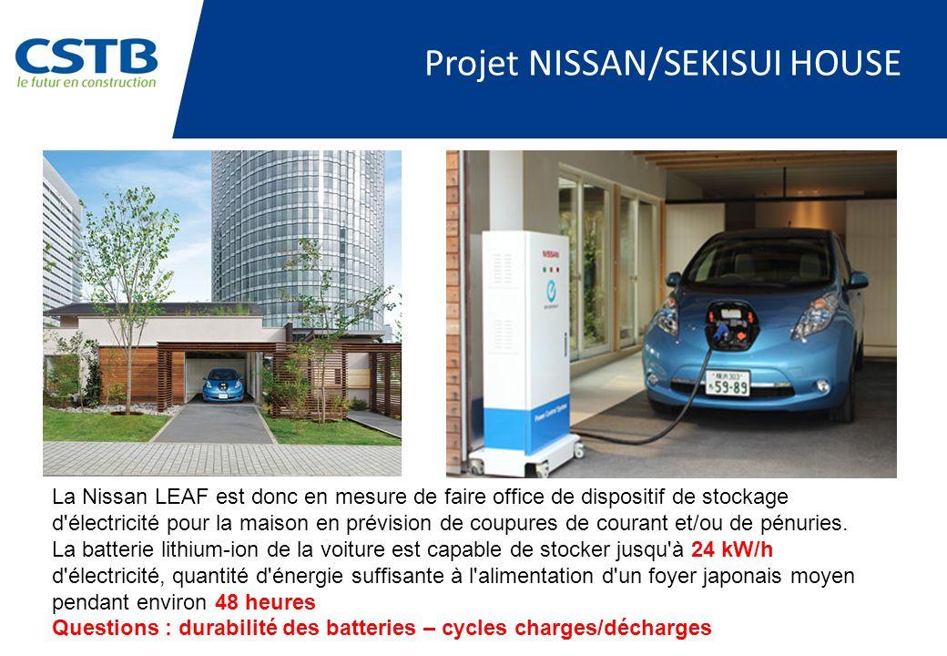 Projet NISSAN/SEKISUI HOUSE La Nissan LEAF est donc en mesure de faire office de dispositif de stockage d électricité pour la maison en prévision de coupures de courant et/ou de pénuries.