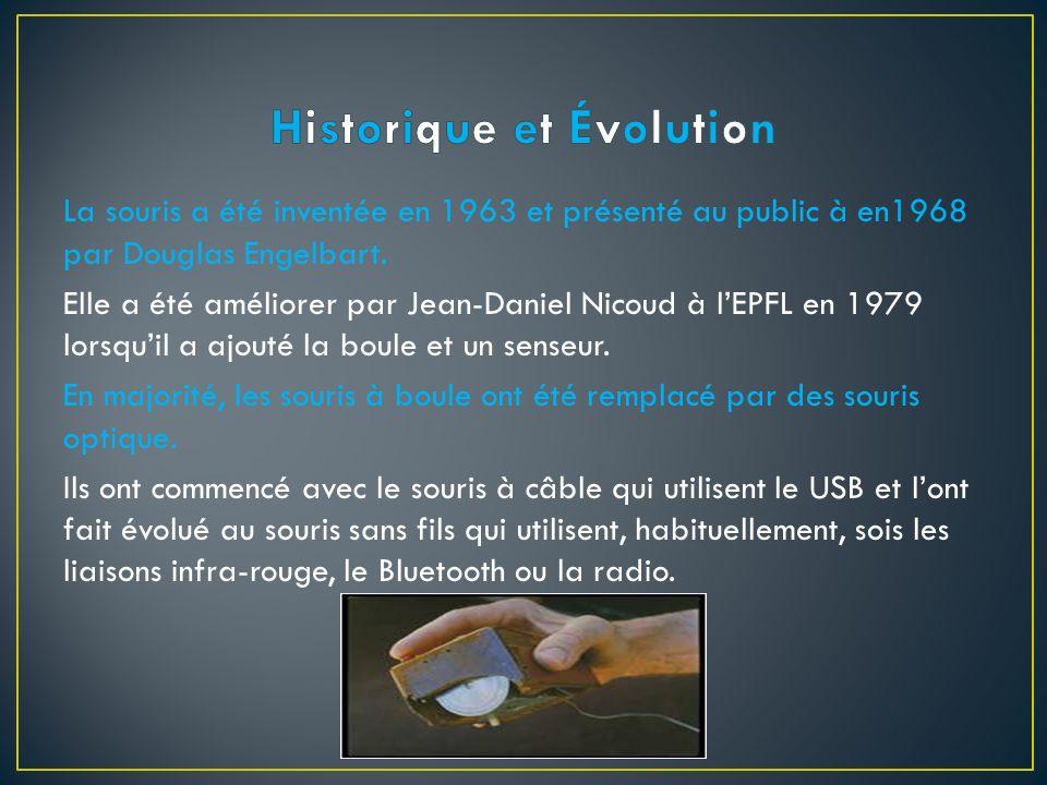 La souris a été inventée en 1963 et présenté au public à en1968 par Douglas Engelbart. Elle a été améliorer par Jean-Daniel Nicoud à lEPFL en 1979 lor