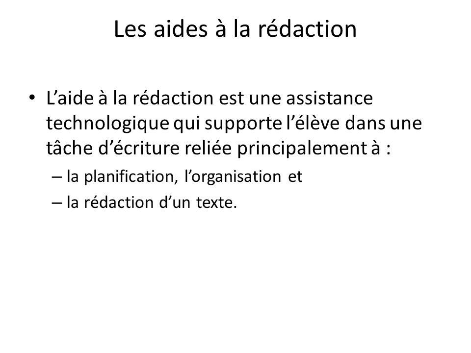 Les aides à la rédaction Laide à la rédaction est une assistance technologique qui supporte lélève dans une tâche décriture reliée principalement à : – la planification, lorganisation et – la rédaction dun texte.