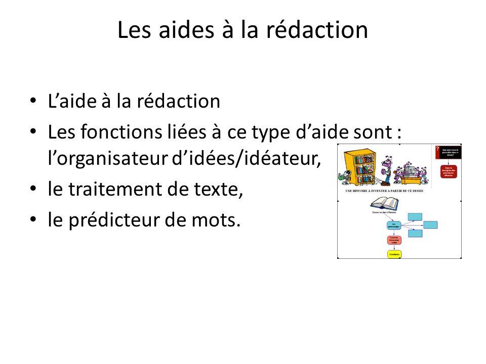 Les aides à la rédaction Laide à la rédaction Les fonctions liées à ce type daide sont : lorganisateur didées/idéateur, le traitement de texte, le prédicteur de mots.