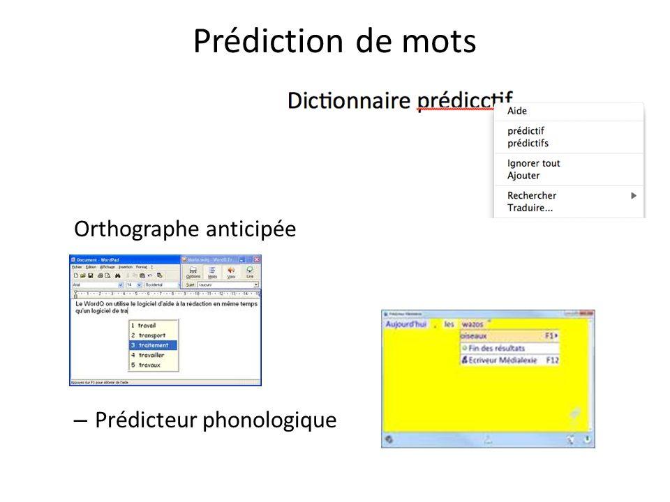 Prédiction de mots Orthographe anticipée – Prédicteur phonologique