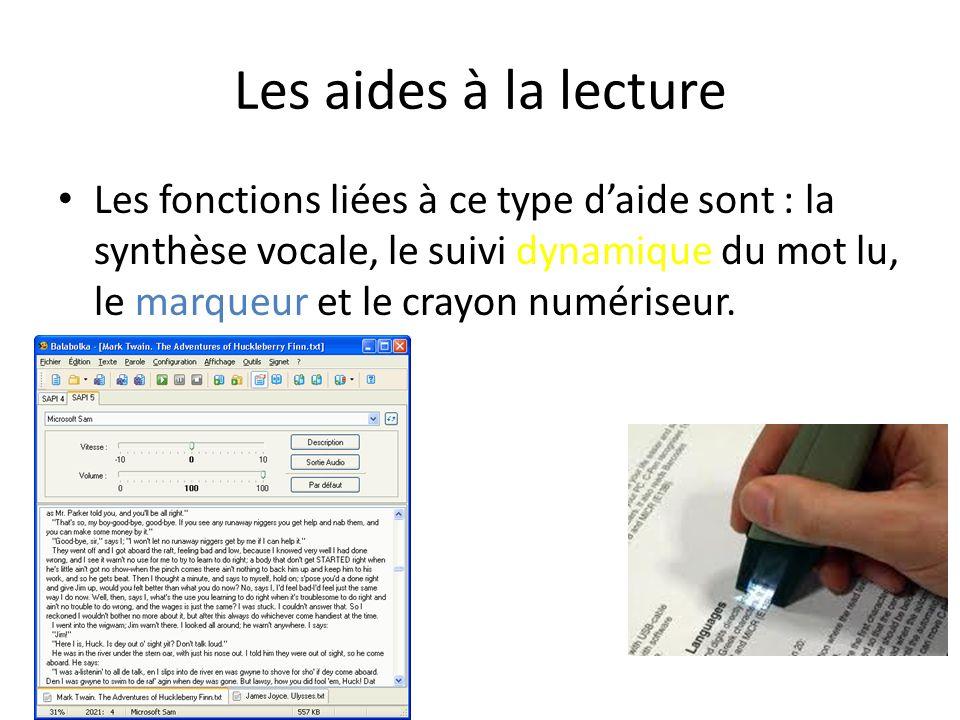 Les aides à la lecture Les fonctions liées à ce type daide sont : la synthèse vocale, le suivi dynamique du mot lu, le marqueur et le crayon numériseur.