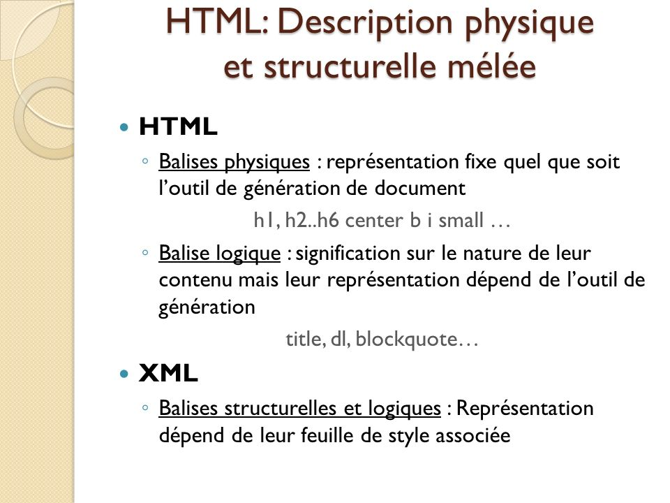 HTML: Description physique et structurelle mélée HTML Balises physiques : représentation fixe quel que soit loutil de génération de document h1, h2..h