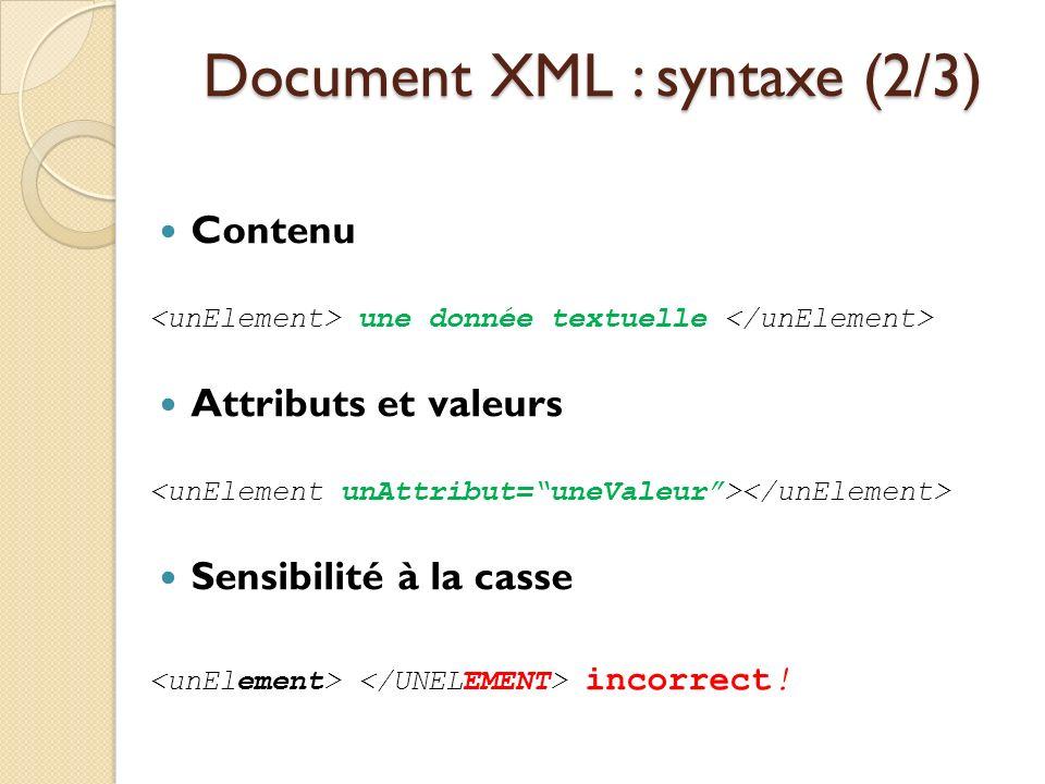 Document XML : syntaxe (2/3) Contenu une donnée textuelle Attributs et valeurs Sensibilité à la casse incorrect!