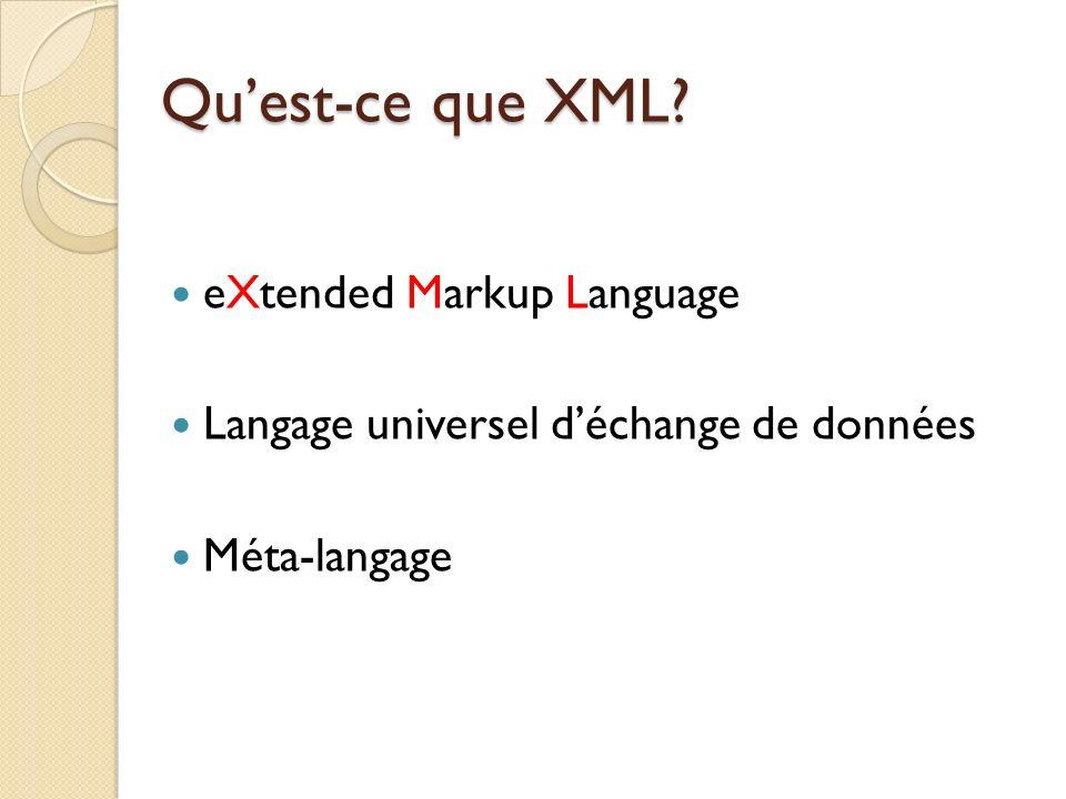 Plan I)Introduction Historique Objectifs Document XML II)Langages darbres DTD XML Schéma XML III) Requêtes et manipulation Xpath XSL, XSLT DOM, SAX IV)Applications