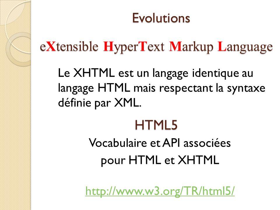 eXtensible HyperText Markup Language Le XHTML est un langage identique au langage HTML mais respectant la syntaxe définie par XML. HTML5 Vocabulaire e