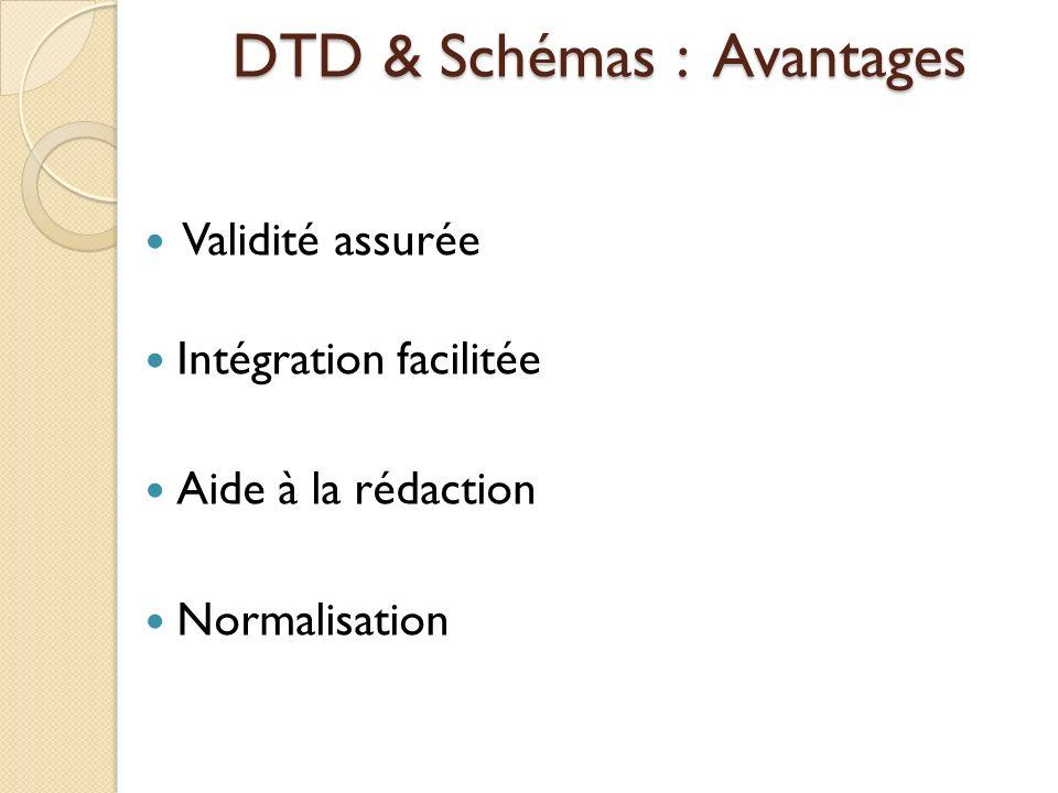 DTD & Schémas : Avantages Validité assurée Intégration facilitée Aide à la rédaction Normalisation