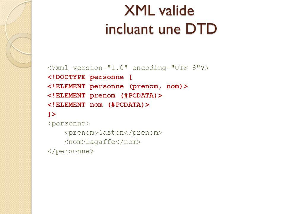 XML valide incluant une DTD <!DOCTYPE personne [ ]> Gaston Lagaffe