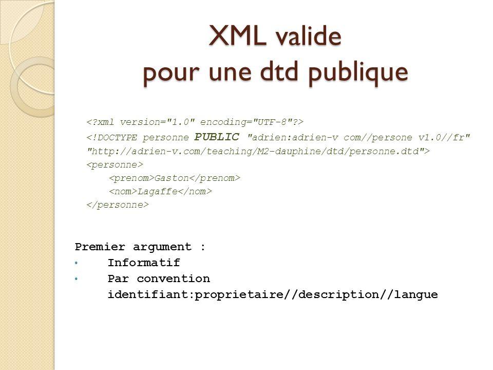 XML valide pour une dtd publique <!DOCTYPE personne PUBLIC