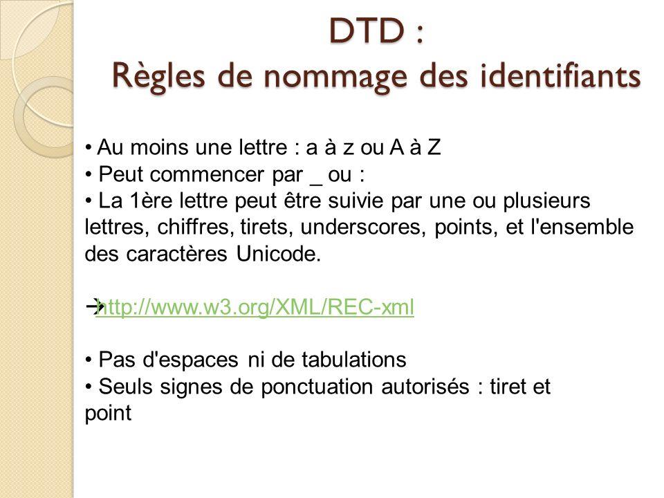 DTD : Règles de nommage des identifiants Au moins une lettre : a à z ou A à Z Peut commencer par _ ou : La 1ère lettre peut être suivie par une ou plu