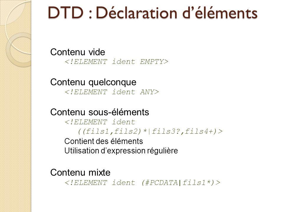 DTD : Déclaration déléments Contenu vide Contenu quelconque Contenu sous-éléments Contient des éléments Utilisation dexpression régulière Contenu mixt