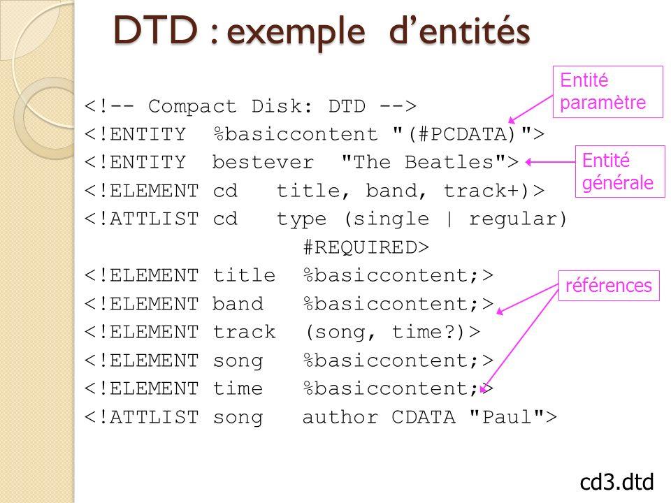 DTD : exemple dentités <!ATTLIST cd type (single | regular) #REQUIRED> Entité générale références Entité paramètre cd3.dtd