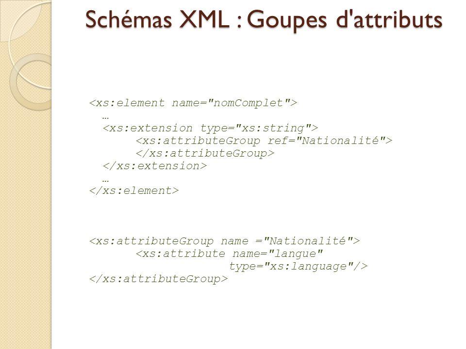 Schémas XML : Goupes d'attributs … …