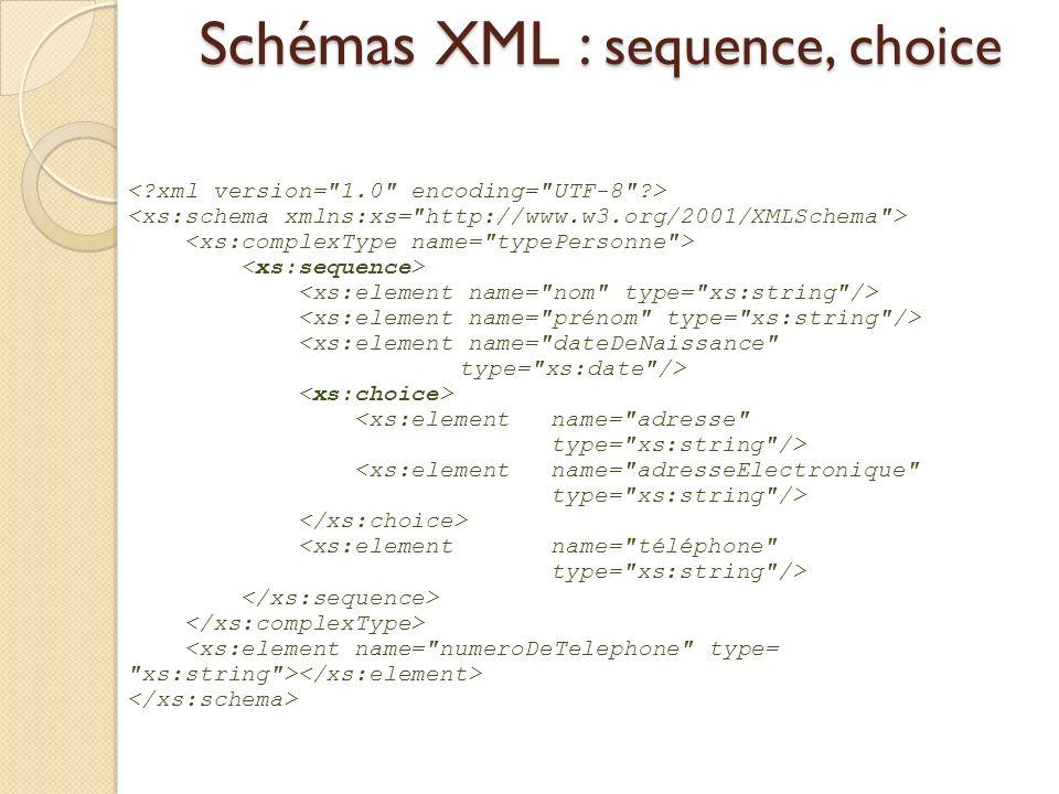 Schémas XML : sequence, choice