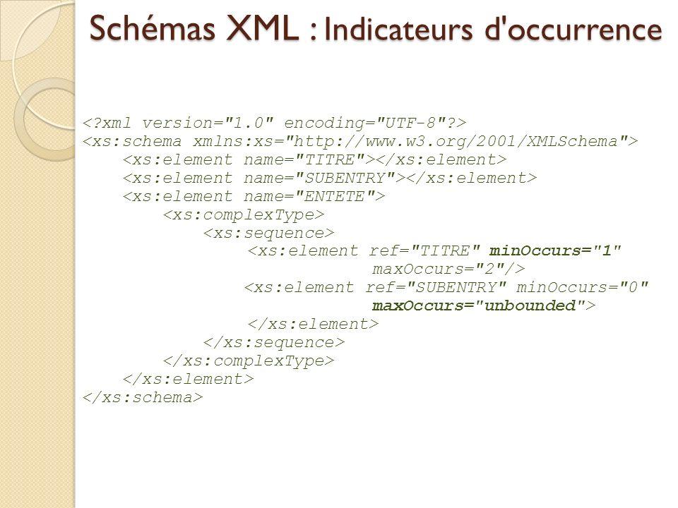 Schémas XML : Indicateurs d'occurrence
