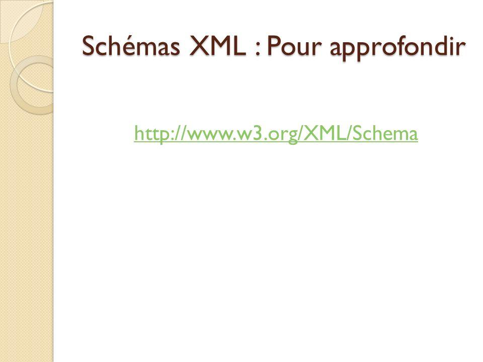 Schémas XML : Pour approfondir http://www.w3.org/XML/Schema