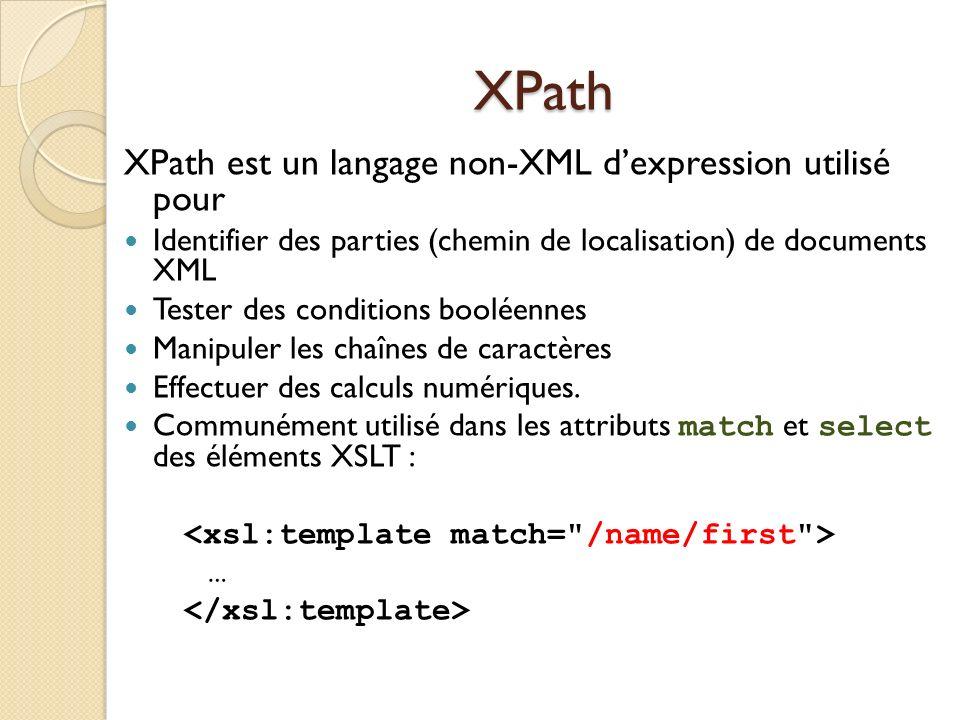XPath XPath est un langage non-XML dexpression utilisé pour Identifier des parties (chemin de localisation) de documents XML Tester des conditions boo