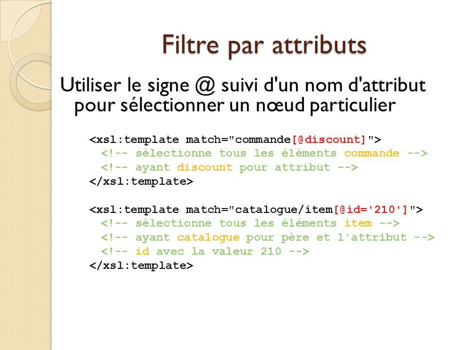 Filtre par attributs Utiliser le signe @ suivi d'un nom d'attribut pour sélectionner un nœud particulier