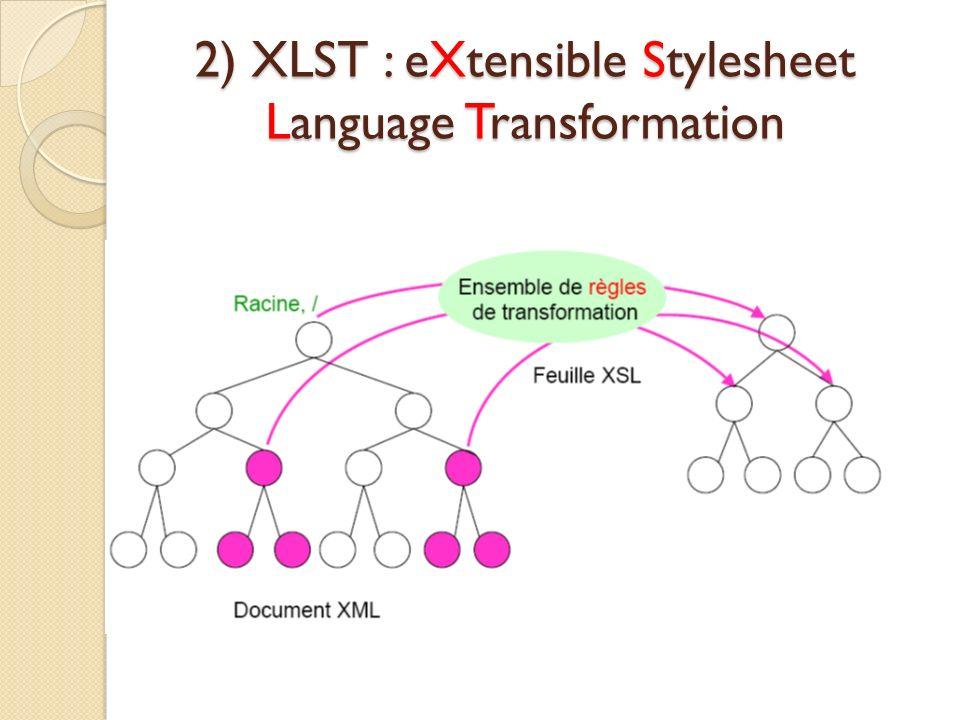 2) XLST : eXtensible Stylesheet Language Transformation