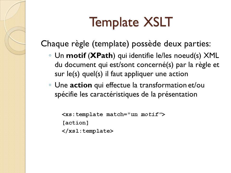 Template XSLT Chaque règle (template) possède deux parties: Un motif (XPath) qui identifie le/les noeud(s) XML du document qui est/sont concerné(s) pa